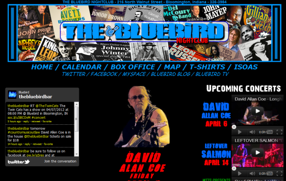 The Bluebird Homepage featuring Coe's photo